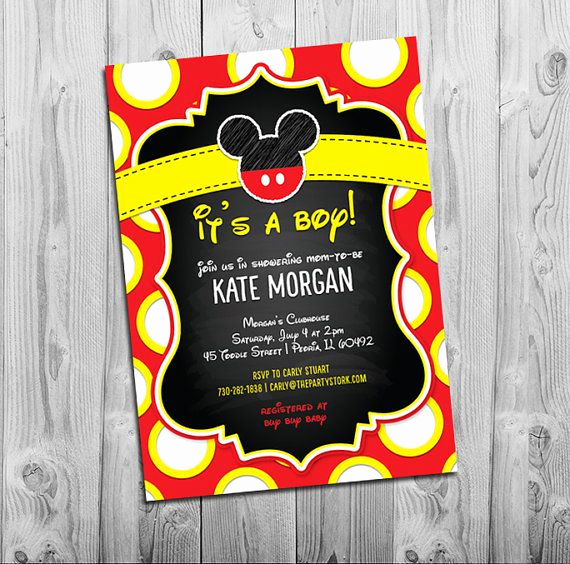 Mickey Mouse Head Invitation Template Inspirational Mickey Mouse Baby Shower Invitations Boy Baby Shower