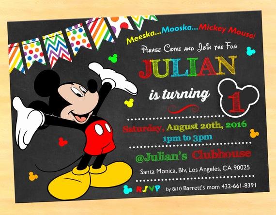 Mickey Mouse Invitation Ideas Elegant 1st Birthday Invitations Boy Mickey Mouse Mickey Mouse