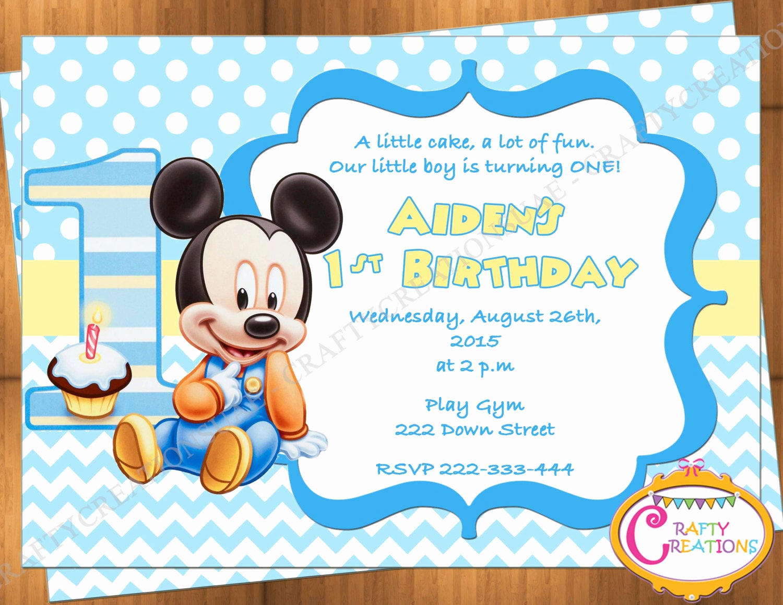 Mickey Mouse Invitation Ideas Lovely Baby Mickey Mouse First Birthday Invitation Mickey Mouse 1st