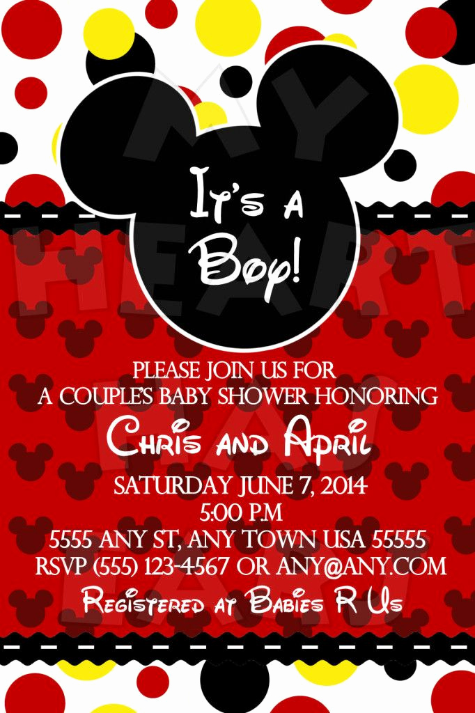 Mickey Mouse Invitation Ideas New Mickey Mouse It's A Boy Baby Shower Custom Printable