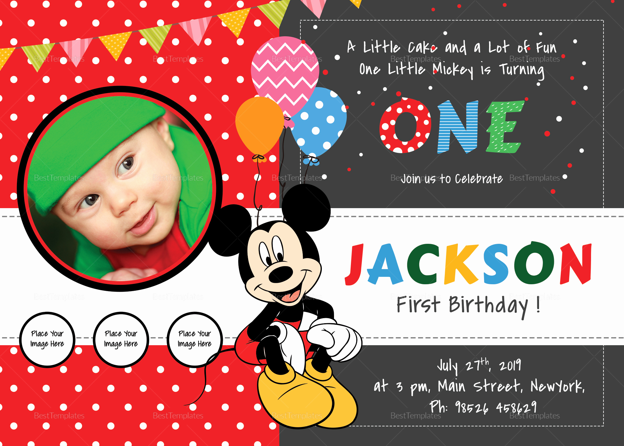 Mickey Mouse Invitation Maker Best Of Exciting Mickey Mouse Birthday Invitation Card Design