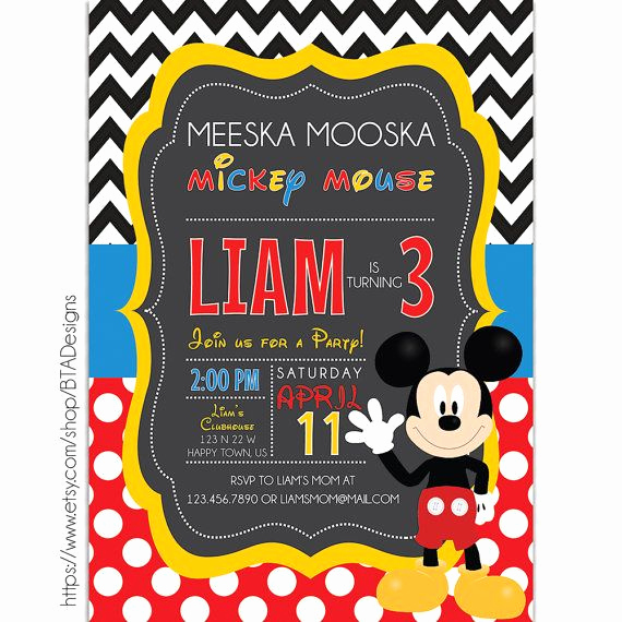 Mickey Mouse Invitation Maker Inspirational Digital Printable Mickey Mouse Clubhouse Birthday Party