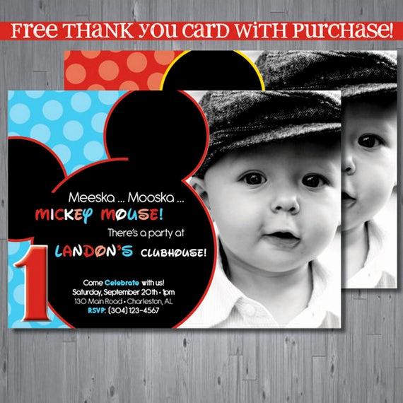 Mickey Mouse Invitation Maker Inspirational Mickey Mouse Birthday Invitation First Birthday by