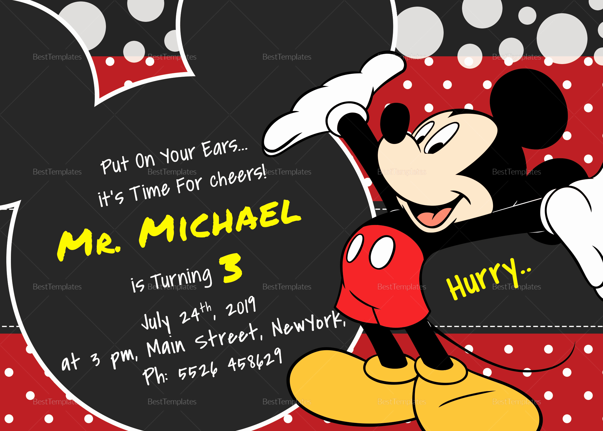 Mickey Mouse Invitation Template Awesome Delightful Mickey Mouse Birthday Invitation Card Design