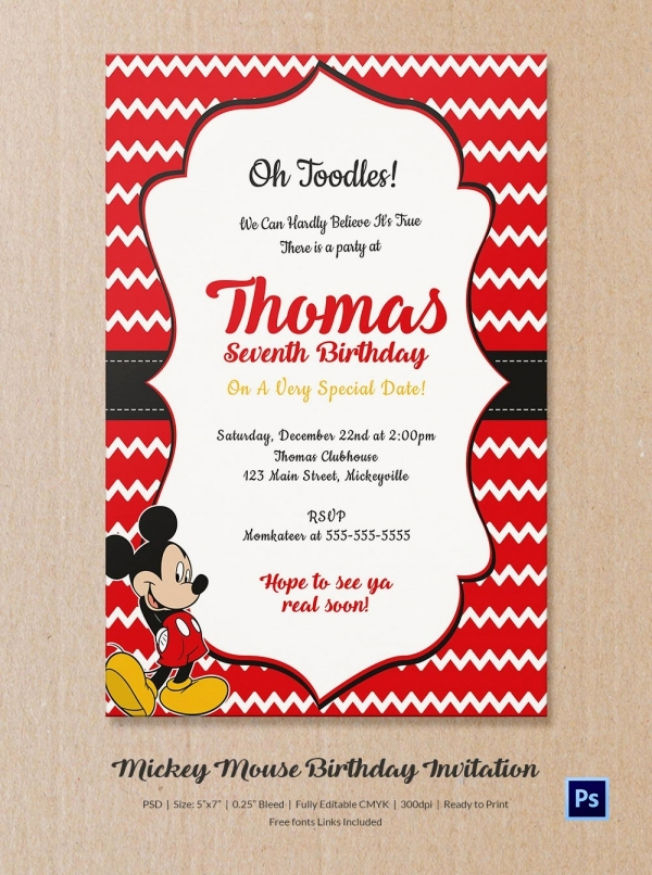 Mickey Mouse Invitation Template Elegant Mickey Mouse Invitation Template – 23 Free Psd Vector