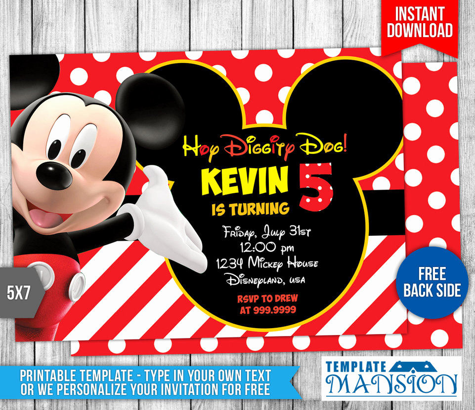 Mickey Mouse Invitation Template Inspirational Mickey Mouse Clubhouse Birthday Invitation by