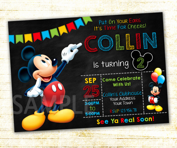 Mickey Mouse Invitation Template Luxury 15 Mickey Mouse Birthday Invitation Templates – Psd