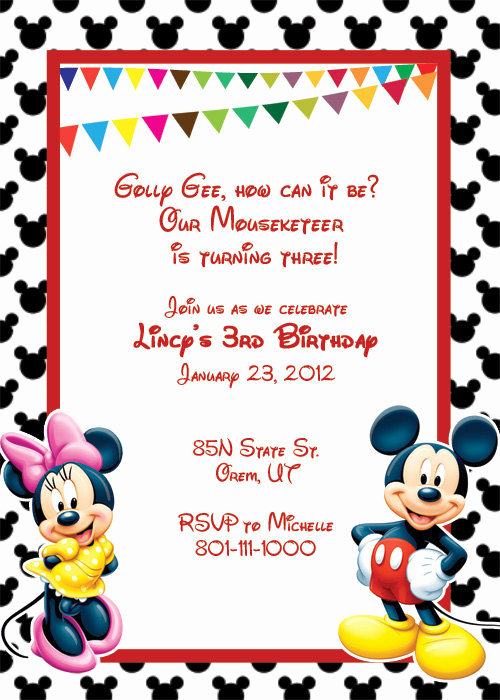 Mickey Mouse Invitation Template Luxury Mickey Mouse Printable Birthday Party Invitation Template