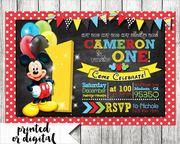 Mickey Mouse Invitation Template Luxury Sample Mickey Mouse Invitation Template 13 Download