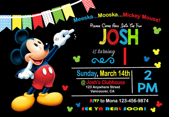 Mickey Mouse Invitation Template New 49 Birthday Invitation Templates Psd Ai Word