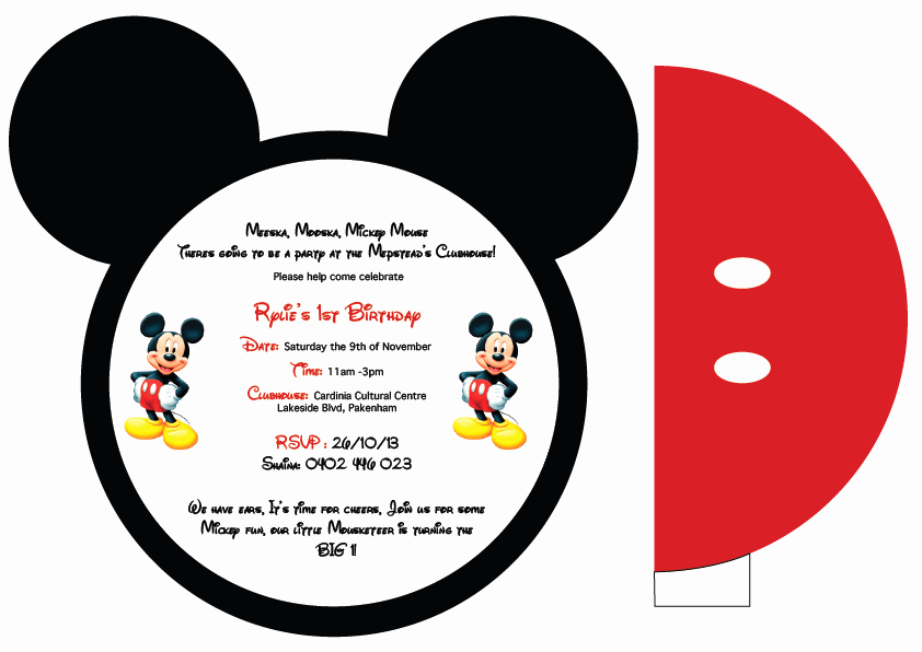Mickey Mouse Invitation Template New Mickey Mouse Printable Invitation Cards