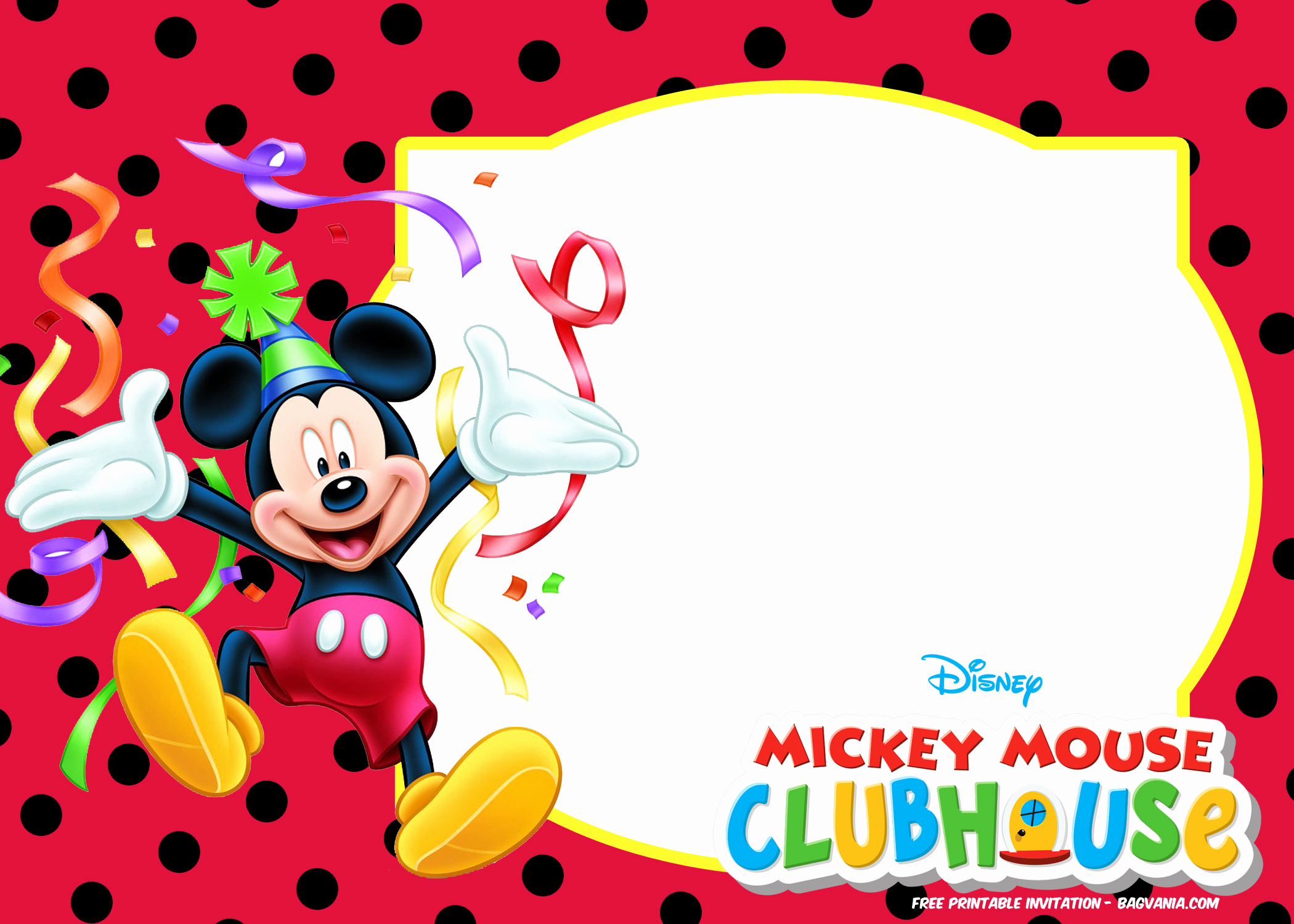 Mickey Mouse Invitation Template Unique Mickey Mouse Birthday Invitation Template Choice Image