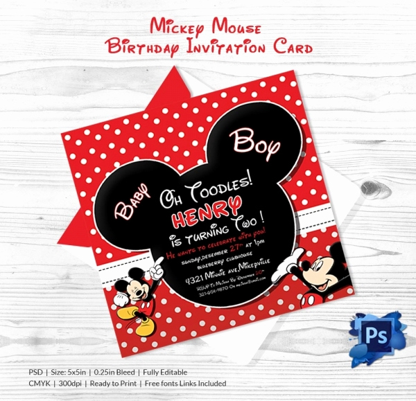 Mickey Mouse Invitation Templates Free Best Of Mickey Mouse Invitation Template – 23 Free Psd Vector
