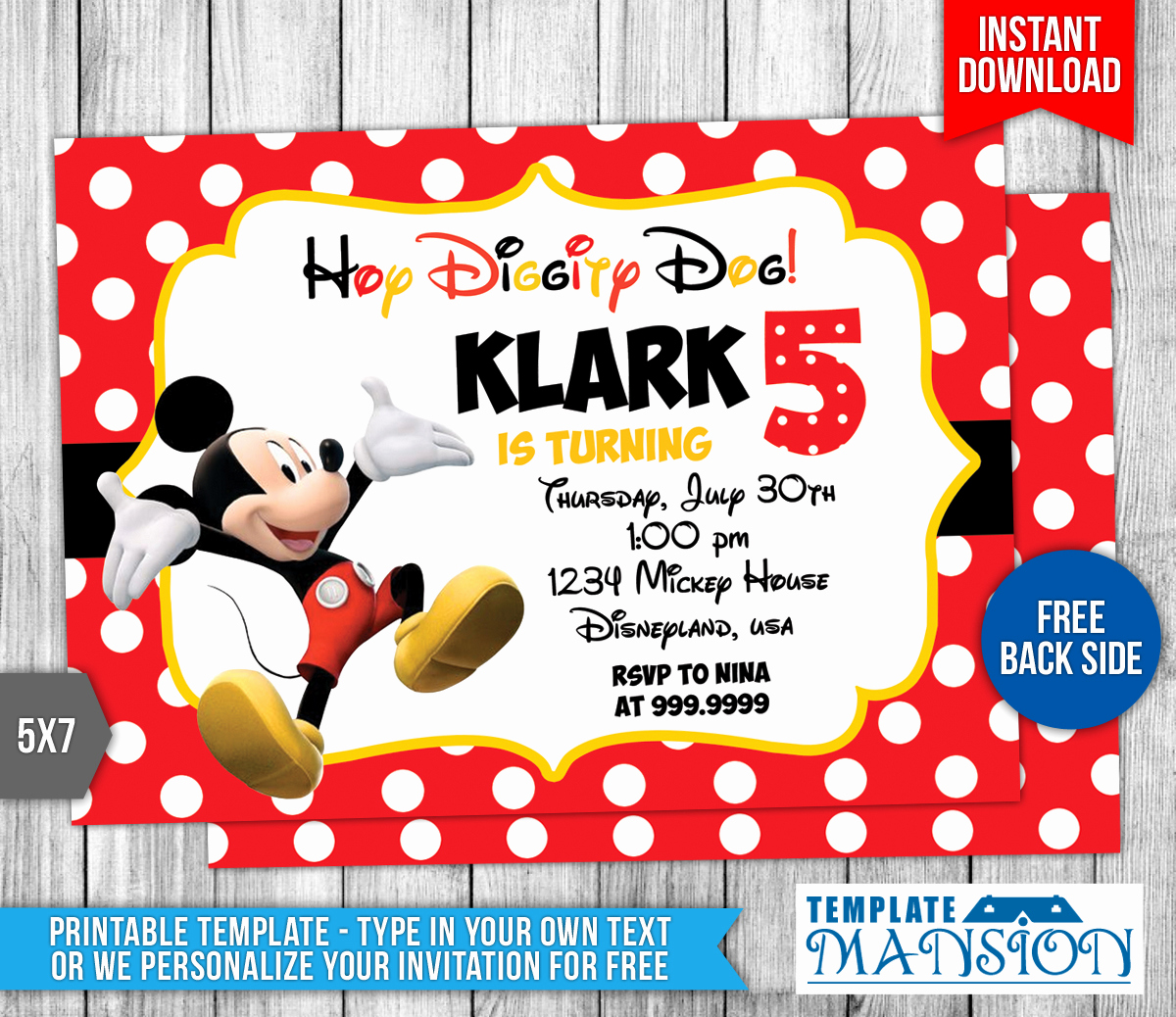 Mickey Mouse Invitation Templates Free Elegant Disney Mickey Mouse Birthday Invitation by Templatemansion