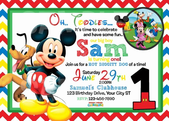 Mickey Mouse Invitation Templates Free Inspirational Mickey Mouse 1st Birthday