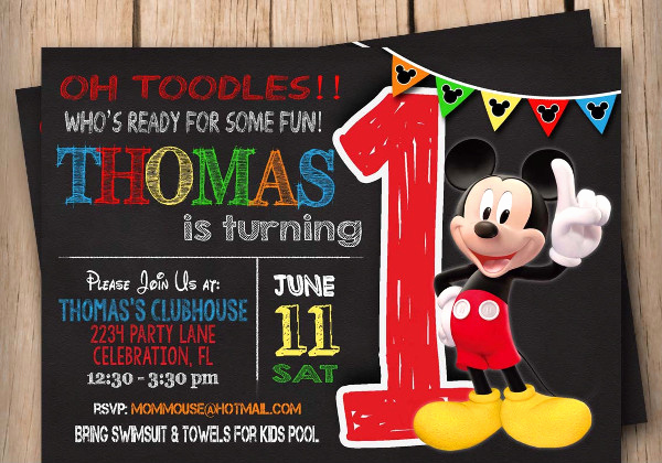 Mickey Mouse Invitation Templates Free Lovely 9 Mickey Mouse Birthday Invitation Designs & Templates