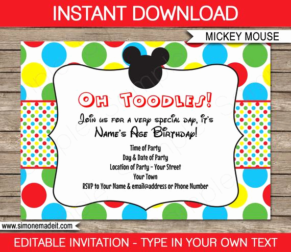 Mickey Mouse Invitation Templates Free Lovely Mickey Mouse Invitation Template Birthday Party