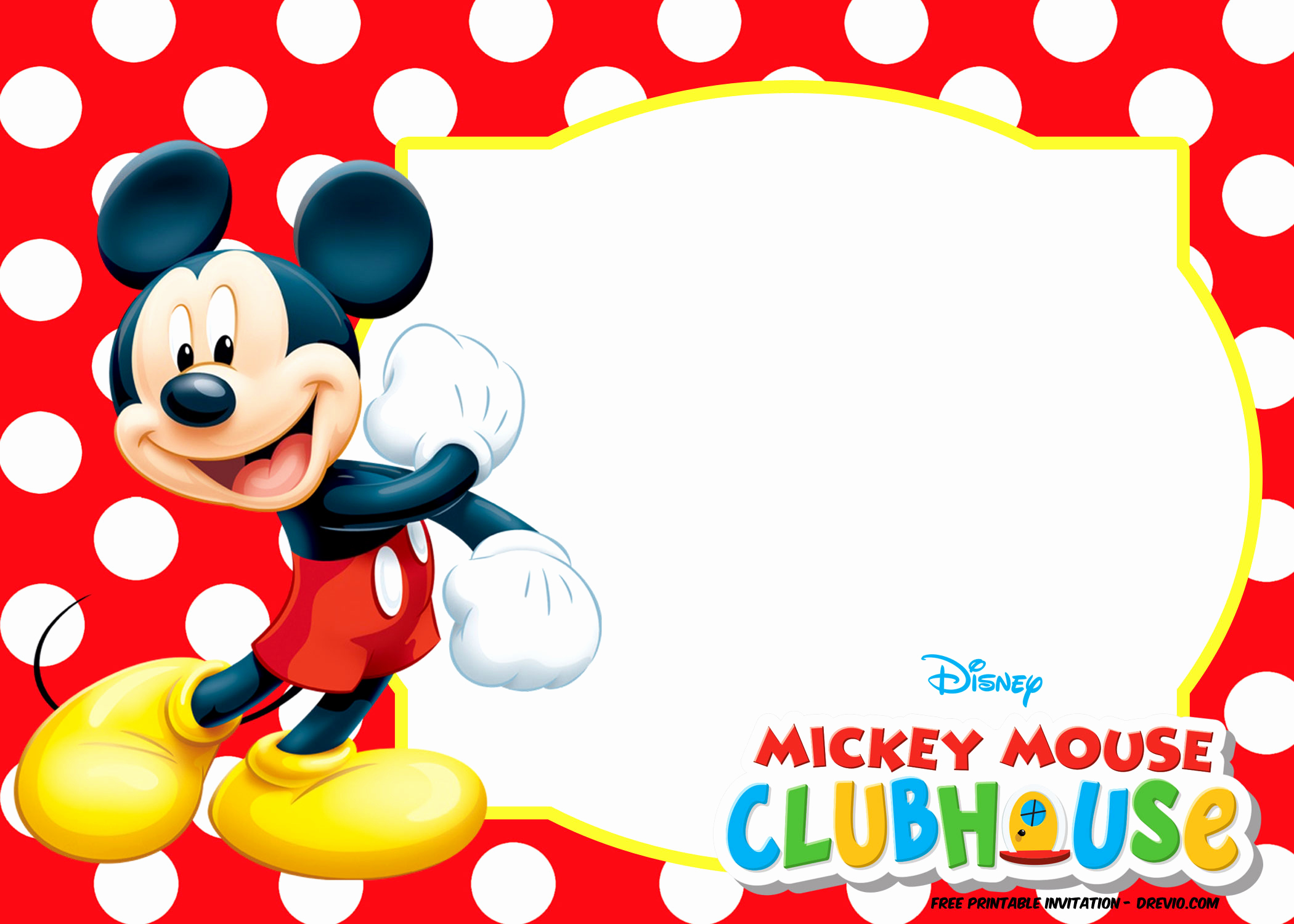 Mickey Mouse Invitation Templates Free Lovely Mickey Mouse Polka Dot Invitation Templates
