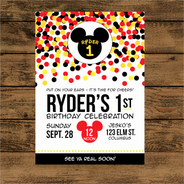 Mickey Mouse Invitation Templates Free New 20 Mickey Mouse Birthday Invitation Templates – Free