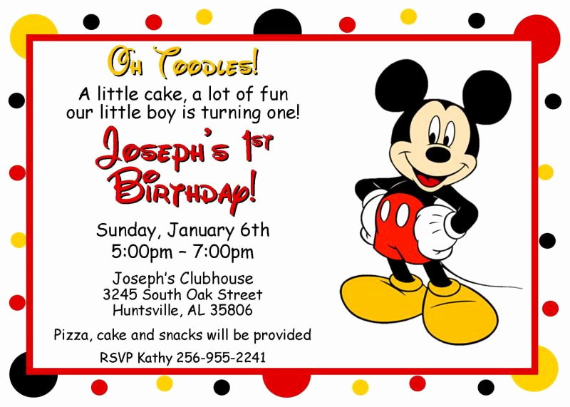 Mickey Mouse Invitation Templates Free New Mickey Mouse Oh toodles Birthday by thenotecardlady On