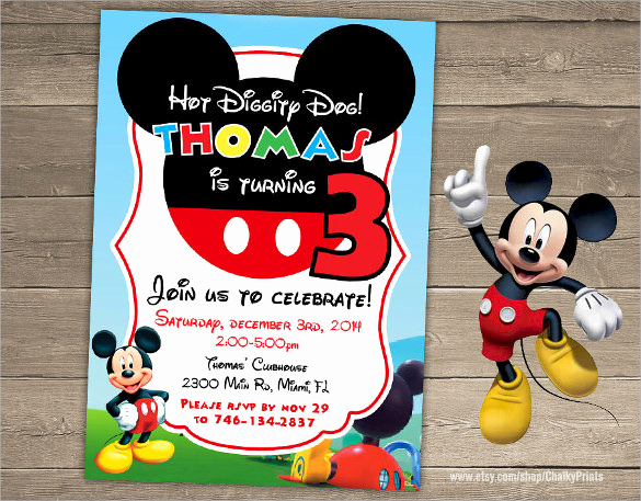Mickey Mouse Invitation Templates Free New Sample Mickey Mouse Invitation Template 13 Download