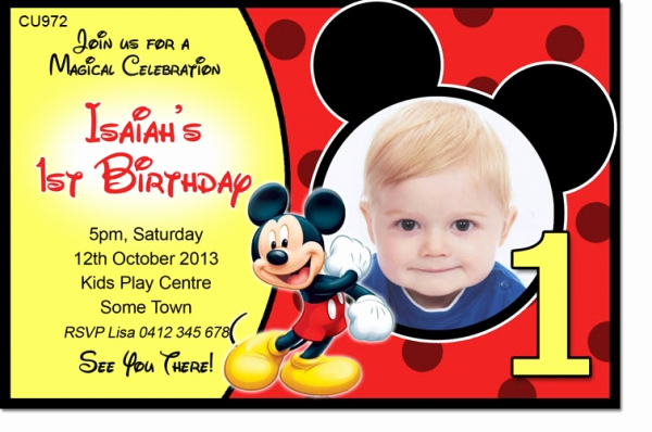 Mickey Mouse Invitation Templates Free Unique Cu972 Mickey Mouse Birthday Invite Boys themed