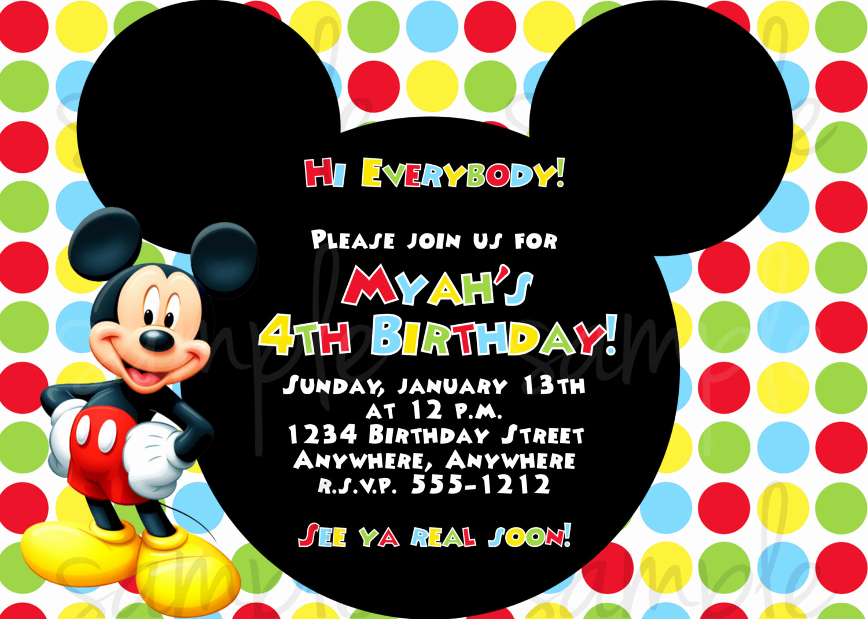 Mickey Mouse Invitation Wording Beautiful Mickey Mouse Birthday Invitation