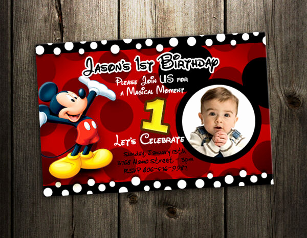 Mickey Mouse Invitation Wording Best Of Mickey Mouse Birthday Invitation Party Card Photo Invites