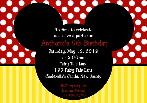 Mickey Mouse Invitation Wording Inspirational First Birthday Invitation 365greetings