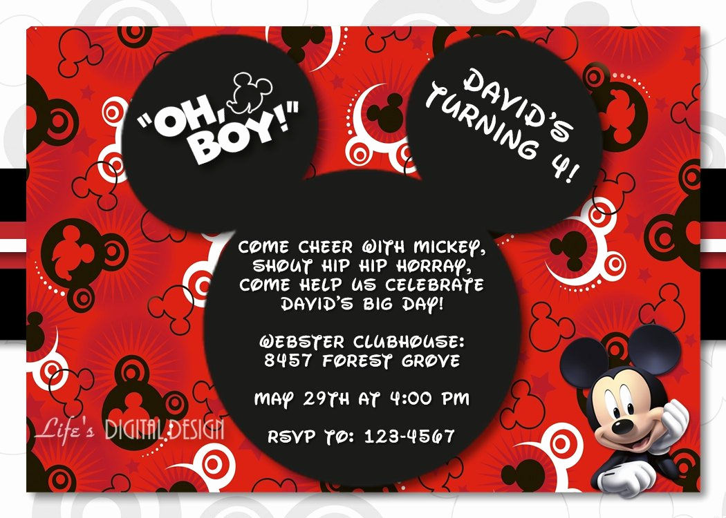 Mickey Mouse Invitation Wording Inspirational Mickey Mouse 1st Birthday Invitations for Girls and Boys