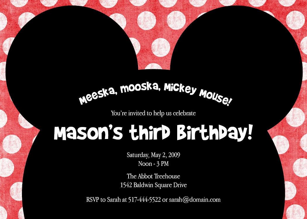 Mickey Mouse Invitation Wording Lovely Meeska Mooska A Cute Mickey Mouse Birthday Party
