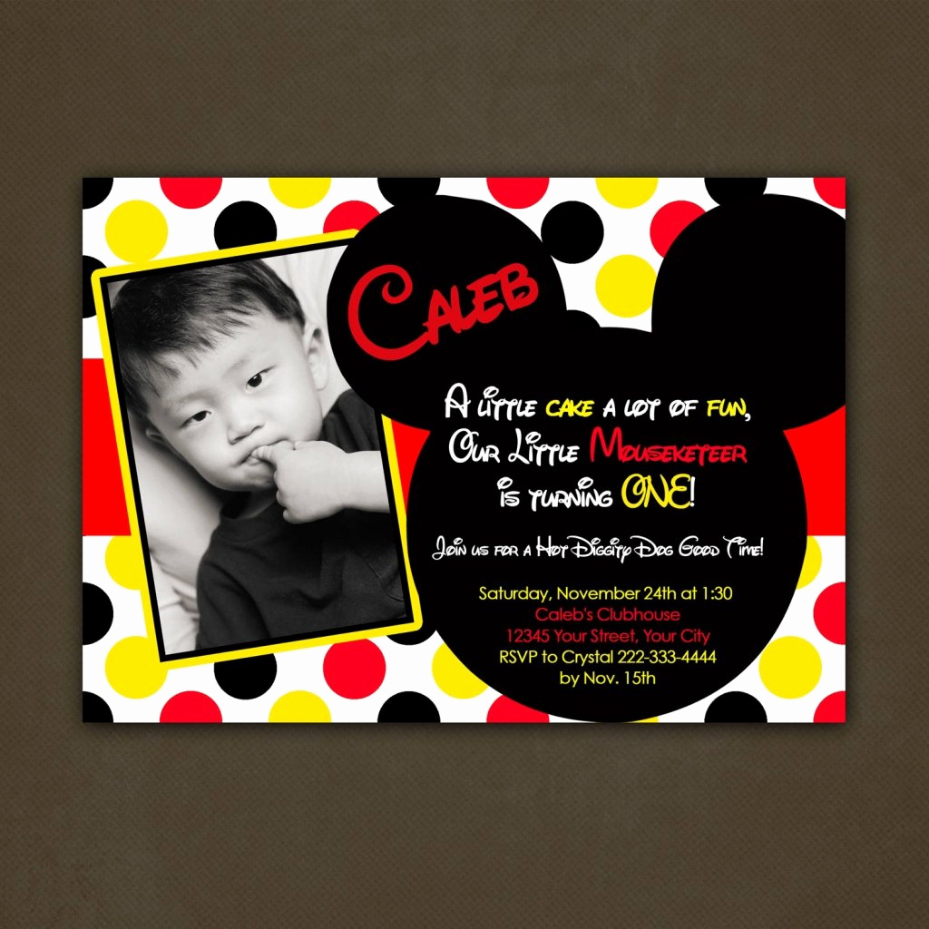Mickey Mouse Invitation Wording Luxury Mickey Mouse Birthday Invitations Personalized