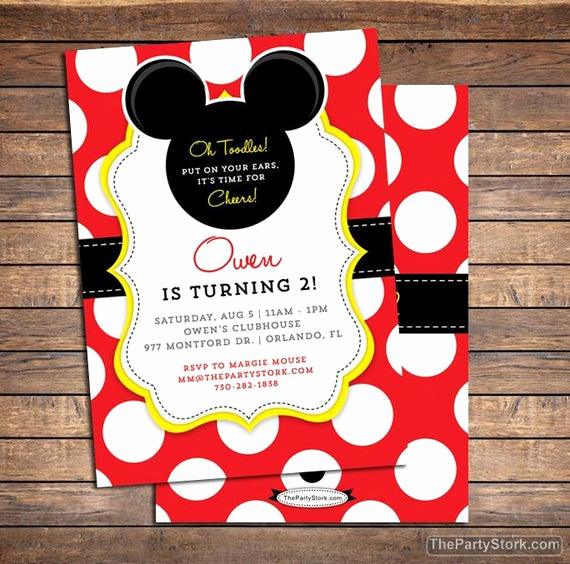 Mickey Mouse Invitation Wording Luxury Mickey Mouse Invitation Mickey Mouse Birthday Invitations
