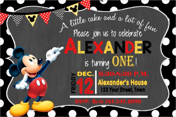 Mickey Mouse Invitation Wording New 31 Mickey Mouse Invitation Templates Free Sample