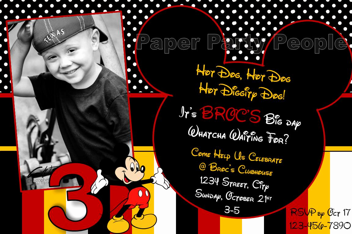 Mickey Mouse Invitation Wording New Party