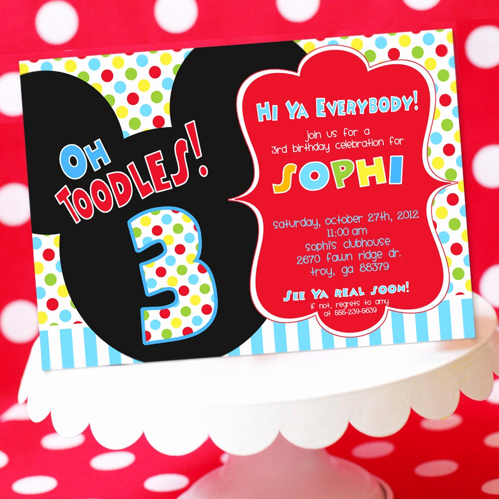 Mickey Mouse Invitation Wording Unique Mickey Mouse Birthday Invitation Mickey by Amandaspartiestogo