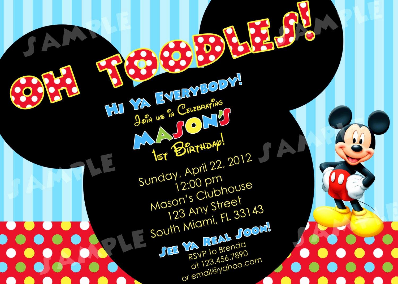 Mickey Mouse Invitation Wording Unique Printable Mickey Mouse Birthday Invitation 4x6 by