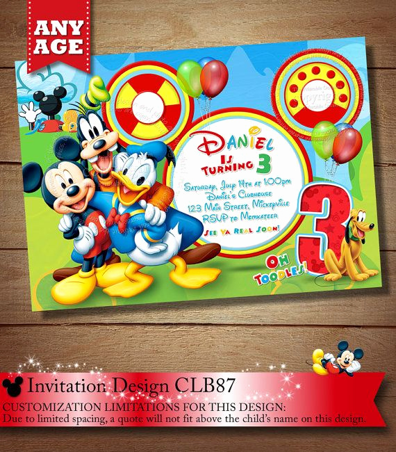 Mickey Mouse Printable Invitation Awesome Same Day Svc Mickey Mouse Clubhouse Invitation Mickey