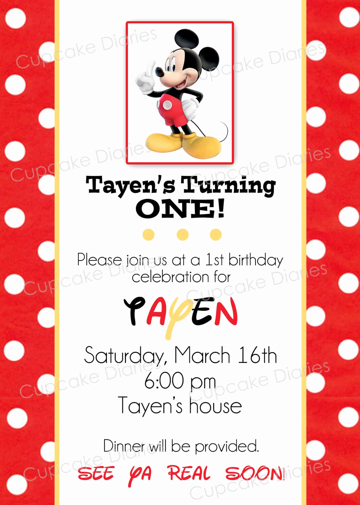 Mickey Mouse Printable Invitation Awesome Simple Mickey Mouse Birthday Party Free Subway Art