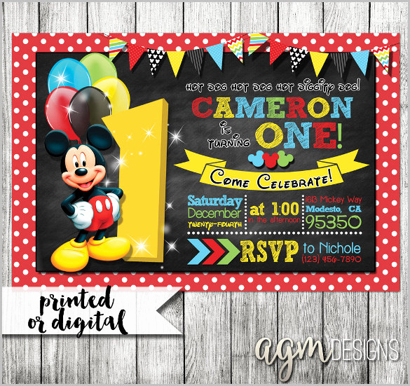 Mickey Mouse Printable Invitation Beautiful Mickey Mouse Invitation Templates – 29 Free Psd Vector