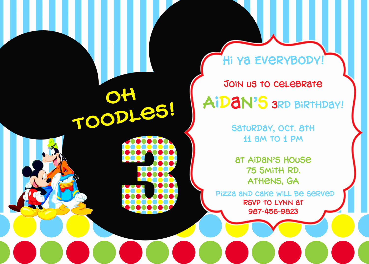Mickey Mouse Printable Invitation Elegant Colorful Mickey Mouse Clubhouse Party Invitation