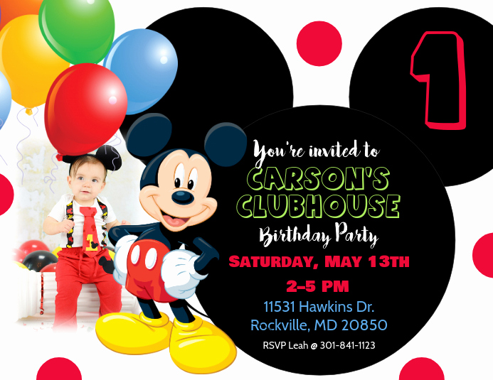 Mickey Mouse Printable Invitation Elegant Mickey Mouse Birthday Invitation Template