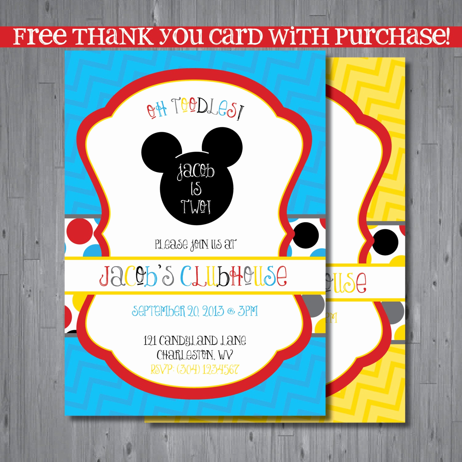 Mickey Mouse Printable Invitation Fresh Mickey Mouse Birthday Invitation First Birthday by