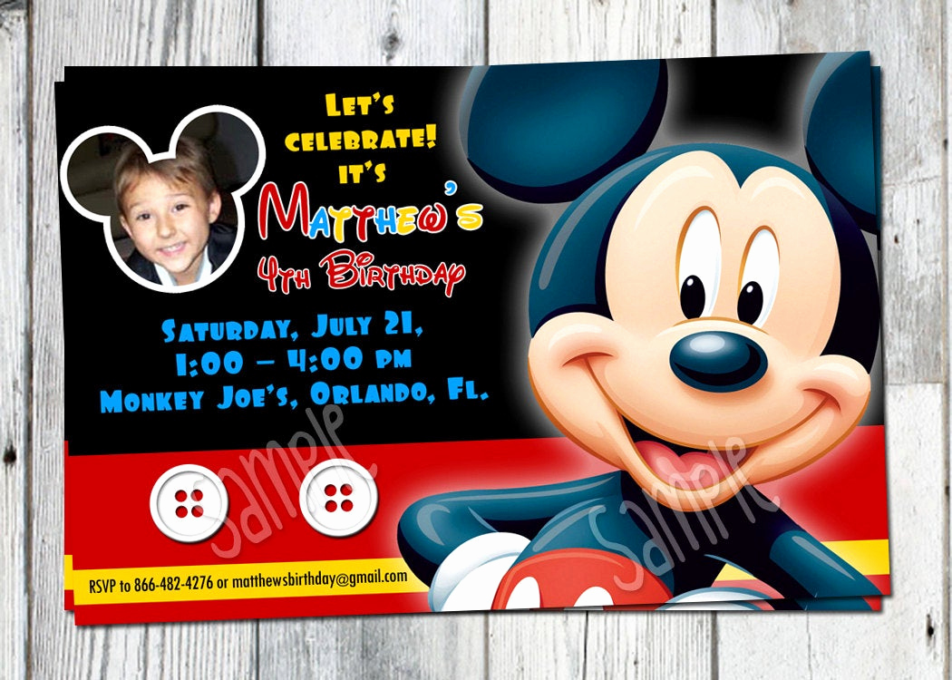Mickey Mouse Printable Invitation Lovely Mickey Mouse Birthday Invitation Printable Boys Personalized