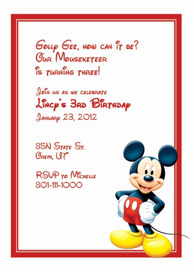 Mickey Mouse Printable Invitation Lovely Mickey Mouse Free Invitation ← Wedding Invitation
