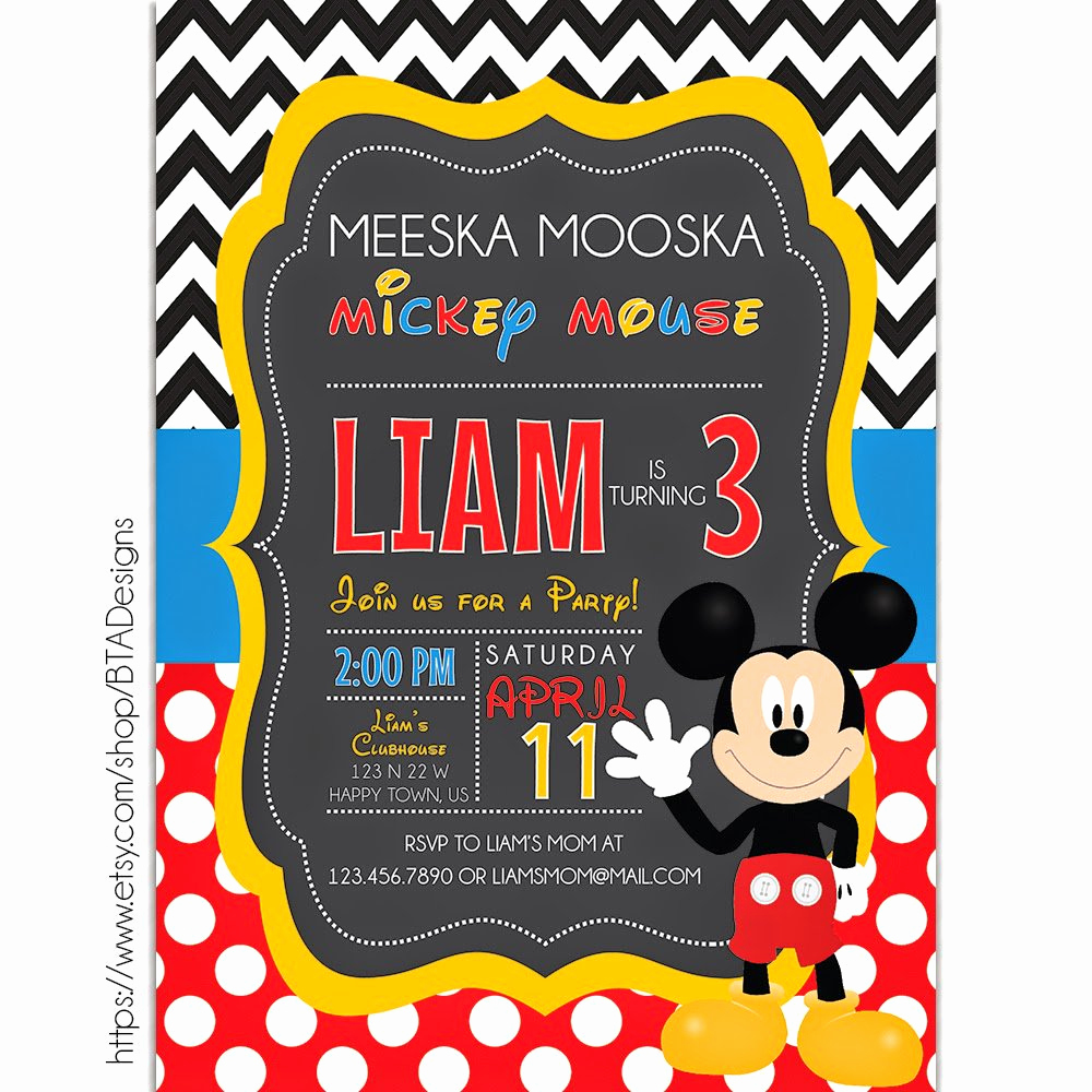 Mickey Mouse Printable Invitation Unique Mickey Mouse Printable Birthday Invitations