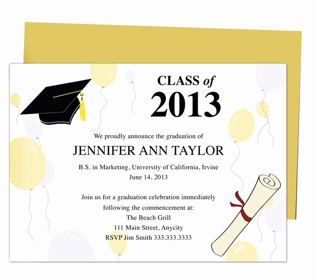 Microsoft Graduation Invitation Templates Elegant Best 46 Printable Diy Graduation Announcements Templates