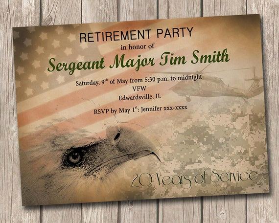 Military Retirement Invitation Templates Awesome Military Retirement Party Invitation