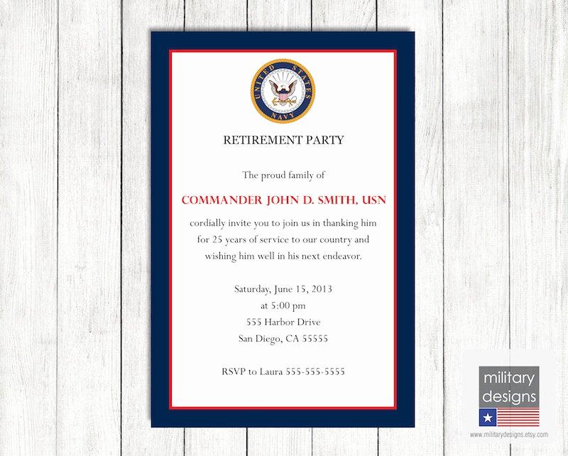 Military Retirement Invitation Templates Best Of Navy Retirement Party Invitation Printable Us Navy Retirement