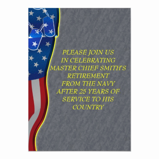 Military Retirement Invitation Templates Elegant Military Retirement 5x7 Paper Invitation Card